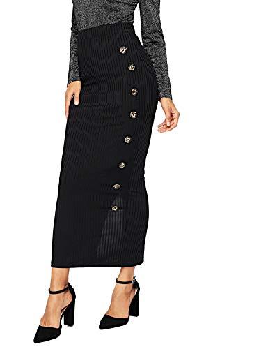 SOLY HUX Women's High Waist Button Split Back Ribbed Knit Bodycon Skirt Black M