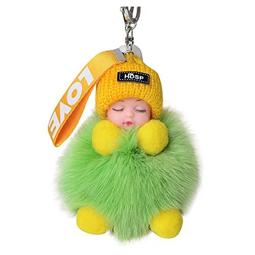 HEling Llavero para mujer con pompón de dormir para bebés, adecuado para bolsos de bebé o para colgar del coche (F)