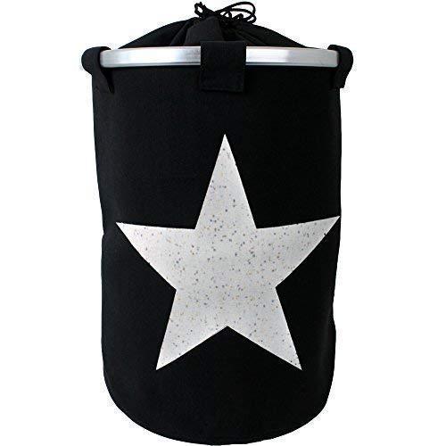 teprovo Deluxe XXL tvättkorg tvättsvamp smuts korg svart motiv stjärna linne optik kanvas lock dragband vintage retro stil 60 l