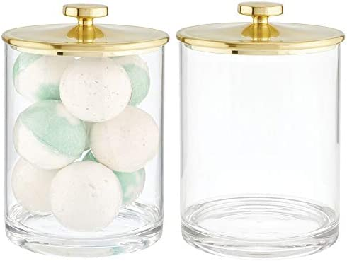 mDesign Modern Plastic Round Bathroom Vanity Countertop Storage Organizer Apothecary Canister product image