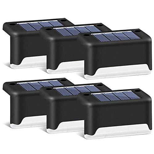 SODIAL Lampes de Terrasse Solaires Noires Pack de 6, éClairage Solaire ImperméAble à L'Eau à LED pour L'éClairage ExtéRieur de la Terrasse, Du Patio, de L'Escalier, Etc (Blanc Chaud)