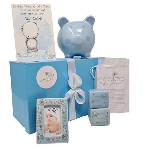 Jadiela Baby Taufgeschenke für Jungen, Blaues Geschenkset zur Taufe oder Geburt Junge, Geschenke mit Meilensteinkarten