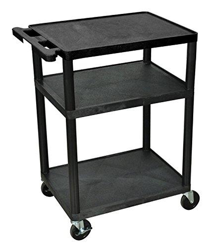 Luxor Black Mobile Plastic 3 Shelf AV Presentation Cart