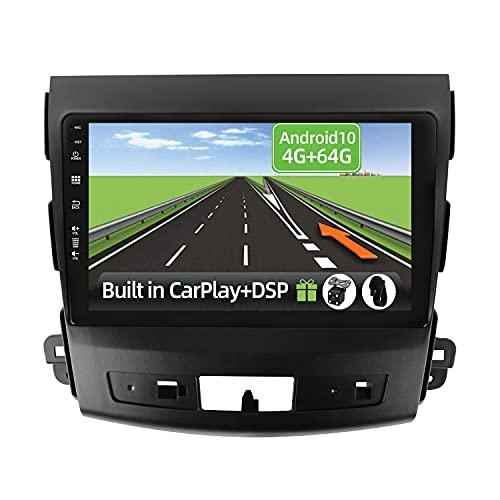 YUNTX Android 10 Autoradio passt für Mitsubishi Outlander/Peugeot 4007/Citroen C-Crosser - 4G+64G -[Eingebautes CarPlay/Android auto/DSP/GPS]-Kostenlose 4-Led Kamera-Unterstützung DAB/Lenkradkontrolle