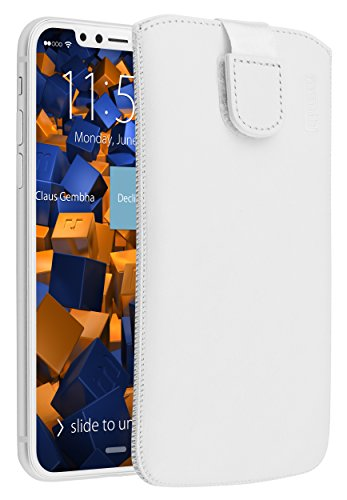 mumbi Echt Ledertasche kompatibel mit iPhone SE 2 2020/7 / 8 Hülle Leder Tasche Hülle Wallet, Weiss