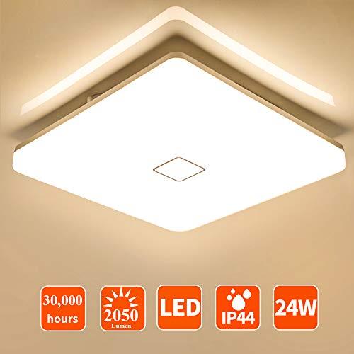 Led Deckenleuchte Öuesen 24W Warmweiss Wohnzimmer Lampe Decke Led Deckenlampe für Schlafzimmer Badezimmer Küche Bad Flur Balkon,Ø32cm,3000K,2050LM