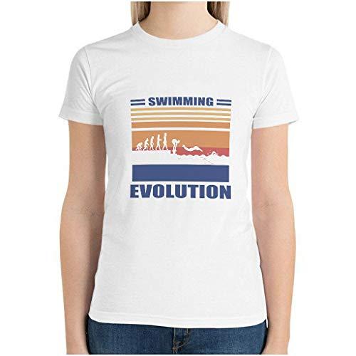 Maglietta da donna in cotone con evoluzione del nuoto, estiva, casual, per hobby bianco S