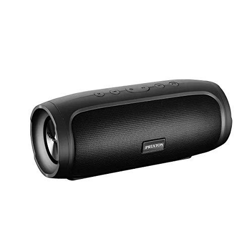 PRIXTON Zeppelin Lite W200 - Altavoz Portátil con Bluetooth, Ranura para USB y Micrófono Integrado para Función Manos Libres, Potencia de 16W, Color Negro