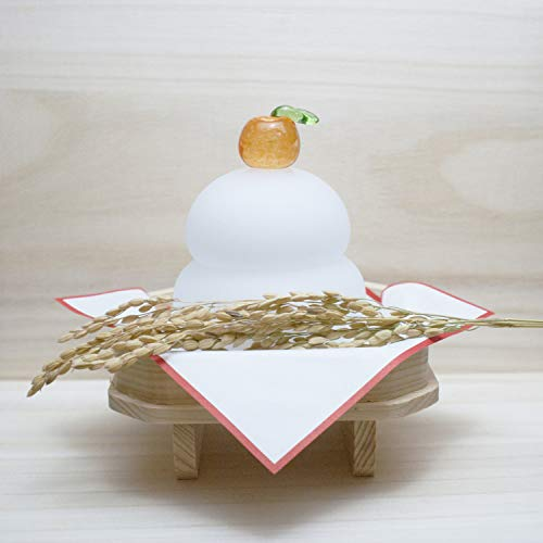 【京都日用品うろこ】ガラス 硝子 鏡餅 (足つき三方・稲穂・四方紅 付き)