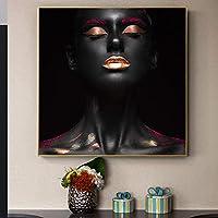 キャンバスのポスターに黒いアフリカのヌードの女性の絵画は、リビングルームのスカンジナビアの壁の芸術の写真を印刷します-(50x50cmx1)フレームなし