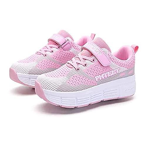 HANHJ Zapatos Niños con Ruedas Skateboarding Zapatos con Ruedas Luz Roller Patines Ruedas Zapatos Deportivos Gimnasia Al Aire Libre Zapatillas Deporte Niños Niñas Adultos,Pink-32 EU