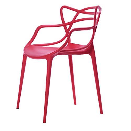 LJZslhei Stuhl Rückenlehne Haushalt Kunststoff Stuhl Hocker modernen minimalistischen Esszimmer Stuhl rot