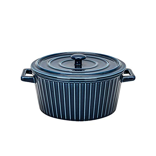MDZF SWEET HOME Ceramic Glaze Baking Bowl for Oven Roasting Lasagna Pan Large Round Casserole Bakeware with Handle and Lid, Blue