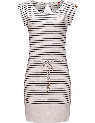 Ragwear Damen Baumwoll Jersey Kleid Sommerkleid Strandkleid Soho Stripes II White21 Gr. XS