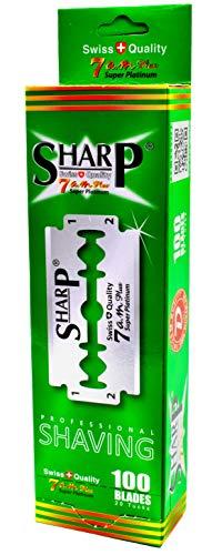 100 Lamette Da Barba Sharp 7Am Super Platinum | Lamette Di Ricambio Per Rasoio Di Sicurezza | Lamette A Doppio Filo Per Rasoio Uomo Rivestite Al Platino
