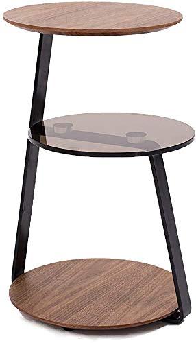 Nueces y vidrio Una mesa de centro moderna con 3 estantes 3 estantes espaciosos fáciles de montar,Brown