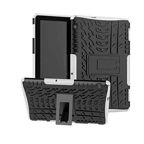 XITODA Custodia Huawei MediaPad T5 10, Hybrid Rugged Armor Rigido PC + TPU Silicone Back Case Cover Cover per Huawei MediaPad T5 10 2018 Tablet Custodia con Kickstand - Bianco