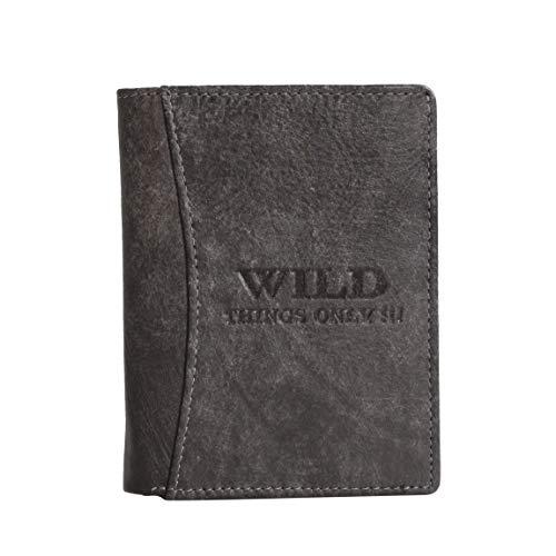Wild Things Only Herren Geldbörse Portemonnaie Geldbeutel, Rindleder (Grau) - präsentiert von ZMOKA®