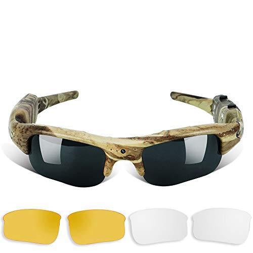 Videocamera nascosta per occhiali da sole, videocamera tascabile con lente UV400, supporta foto e registrazione video Vocal, scheda di memoria integrata da 16 GB