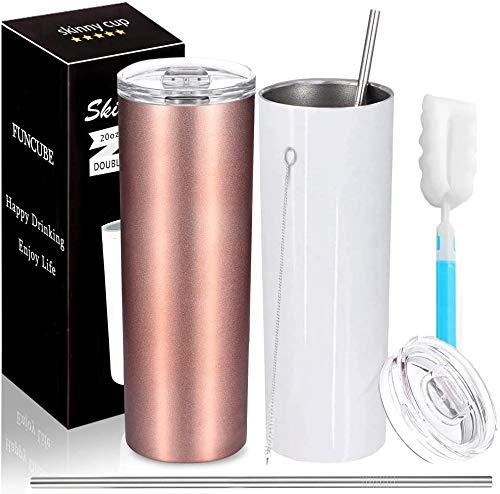Edelstahl Wasserflasche mit Spritzfestem Deckel und Strohhalm,20 oz Unzerbrechlicher Doppelwandig Vakuum Reisebecher für Heiße oder Kalte Getränke mit Reinigungsbürste,2 Stück (Rose Gold & White)
