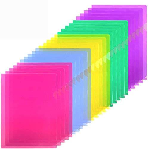 Sooez Clear Document Folder Project Pockets, 25 Pack Clear Plastic Folders Letter Size Plastic Document Folders US Paper Poly Jacket Sleeves Folders Copy Safe, 5 Assorted Colors