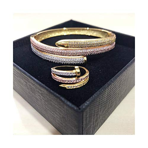 HND ZNXHNDSH Full Zircon Charming Gold Colour Women Double Layer Cuff Nail Bangles Elegant Punk Bracelet & Bangle For Women (Color : Mix Color Set Ring 7)