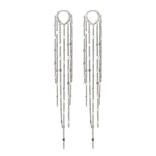 925 Sterling Silver Heart Shaped Hoop with Long Sequins Tassel Earrings for Women