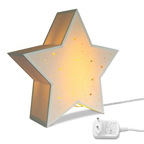 Navaris LED Leuchtstern mit Stromkabel - warmweiß - 31x33x10cm - Deko Sternlampe mit Schalter - ideal zu Weihnachten - Fensterdeko Beleuchtung Weiß