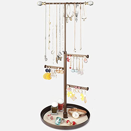 Keebofly Jewelry Tree Stand Organizer - Metal Necklace Organizer Display with Adjustable Height for Necklaces Bracelet Earrings and Ring Bronze