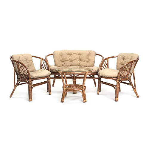 Ragnarök Juego de Muebles de jardín de ratán – Muebles de balcón – Muebles de jardín – Juego de Mesa – Juego de Muebles de balcón (Hellbraun - Beige)