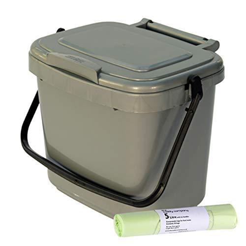 Komposteimer aus Kunststoff, 5 Liter, mit 50 Beuteln mit Zuggriffen, Silber/Grau