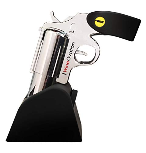 WineOvation Electric Gun Wine Bottle Opener (Simulated Chrome) - Open your Wine Bottle Fast with this New Corkscrew - Great Gift for Gun Enthusiasts and Wine Lovers. Foil Cutter Included.