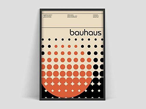 Póster de la exposición de arte Bauhaus, póster impreso de la exposición Bauhaus, impresión de la Bauhaus, Walter gropius, lienzo sin marco D 40x60cm