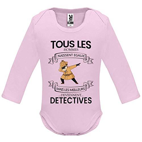 LookMyKase Body bébé - Manche Longue - Tous Les Hommes Naissent Egaux mais Les Deviennent Detectives - Bébé Fille - Rose - 18MOIS