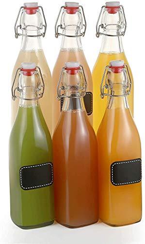 6 bottiglie di vetro con chiusura a leva, 500 ml, rettangolari, 6 etichette con penna e 6 guarnizioni extra.