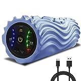 [2020進化版]USB充電式電動フォームローラー 振動筋膜マッサージポール リリースストレッチ5段階振動速度可調整 日本語取扱説明書付き (ライトブルー)