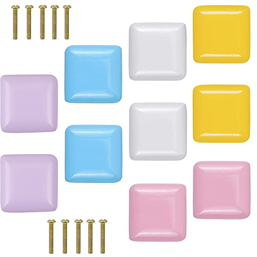 smatime 10 Pezzi Colorato Pomelli per Mobili, 35mm Pomelli per Porta in Legno Piazza Pomoli Manopole per Mobile con Vite per Cassetti Armadio Cassetto Credenze da Cucina Camera dei Bambini