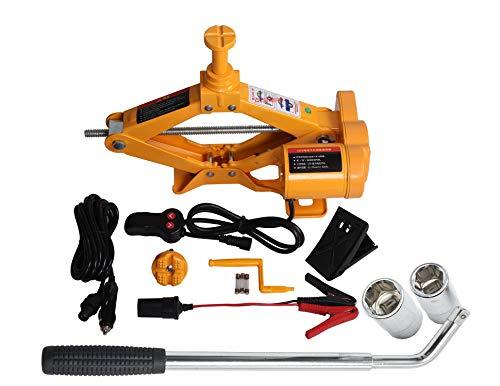 YASI MFG® Elektrischer Scherenwagenheber 2000KG Wagenheber 12.5-42cm Auto Scherenlift mit Radmutternschlüssel