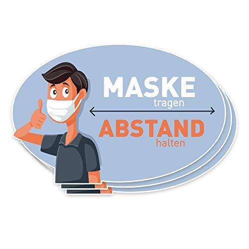 3er Aufkleber Set | Maske tragen - Abstand halten | Maskenpflicht, Mundschutz Hinweis, 13x20cm, selbstklebend
