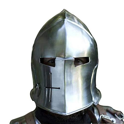 AnNafi Barbuta Viking Battle Knight Casco | Casco de Barbute de acero medieval con viseras armadura SCA LARP Réplica de traje