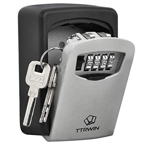 TTRWIN Schlüsselbox Schlüsselsafe Schlüsseltresor, mit 4-stelligem Hochcodeschloss Große Schlüsselbox, Zinklegierung wasserdicht und rostfrei, Wandschlüsselbox für den Innen- und Außenbereich