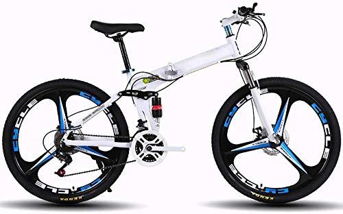 Bicicletas de montaña para adultos plegables MTB de 24 pulgadas 21 velocidades Bicicletas exteriores plegables plegadas dentro para bicicleta al aire libre-blanco