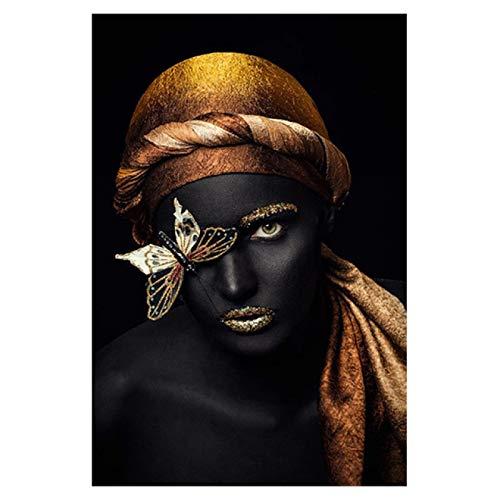 Nativeemie Cuadro Art Pared Lienzo Lienzo Mujer Africana Maquillaj está Desgastado Póster Impresiones Cuadro Art Pared Sala Estar Decor para hogar 30x40cm / 11.8