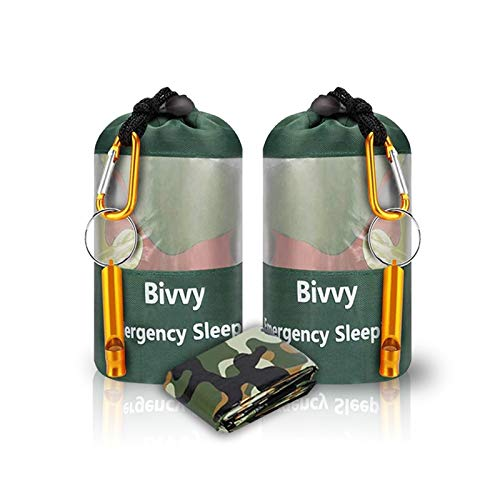 JYSW Lightweight Waterproof Emergency Survival Sleeping Bag PE Bivy Sack Thermal Emergency Blanket with Portable Drawstring Bag + Whistle + Carabiner (Camouflage-2 Packs)