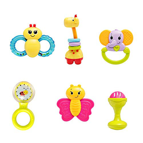 infunbebe Baby Rattles Teether Toy Grab Shaker amp Spin Rattle First Senses Shaking Bell Rattle Set for 3 Months Infant 6 Pcs