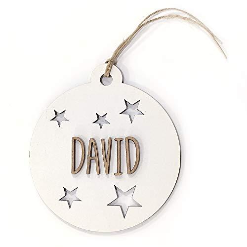 Bola de Navidad Madera Personalizada con Nombre. 100% Madera Gestión Sostenible. Cordel Incluido. Descuentos por cantidad. 5 Bolas de Navidad Madera Personalizadas