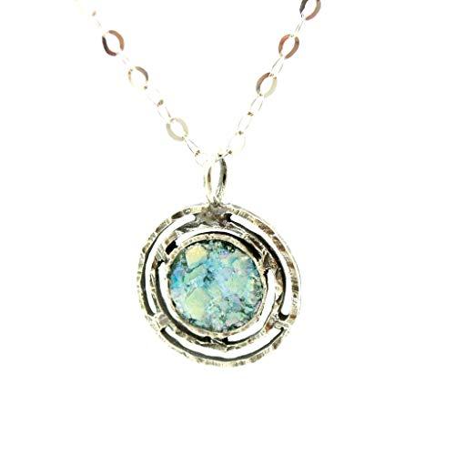 Handgefertigte Halskette | Anhänger rustikal rund | blau | Römisches Glas vom 2.-4. Jahrhundert | Unikat Kunsthandwerk Re-Design by Niibuhr Jewelry