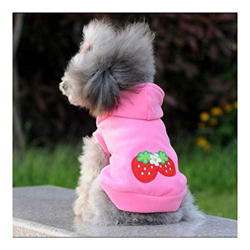 LVWENJUN Cachorro precioso del perro casero de fresa sudaderas Ropa caliente de la capa de la chaqueta de la ropa de vestir traje, invierno caliente del otoño con capucha for mascotas ropa for perros