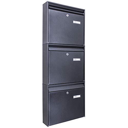Burg-Wächter Briefkastenanlage 3 Fach | 32x109x10cm groß Stahl anthrazit schwarz DIN A4 | Briefkasten Set 3 Briefkästen mit Namensschild, 2 Schlüssel, Montagematerial