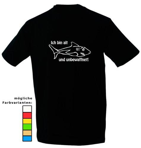Kreativ-Shop! Taucher-T-Shirt Der Hai - alt & unbewaffnet| Frontdruck | Größe: 2XL | Folienfarbe: weiß